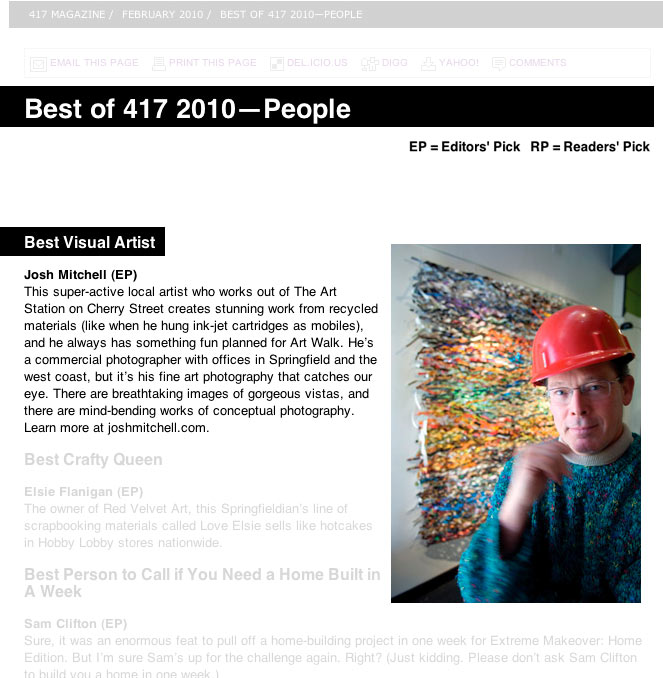 Best of 417 2010 - People - Best Visual Artist Josh Mitchell